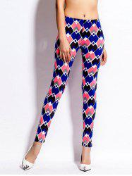 Geometric Print Skinny High Waist Leggings - COLORMIX