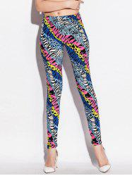 Skinny Elastic Waist Colorful Zebra-Stripe Leggings - COLORMIX