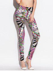 Skinny taille élastique Big Pinwheel Print Leggings - Multicolore
