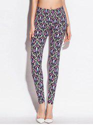 Skinny Elastic Waist Ornate Print Leggings - COLORMIX