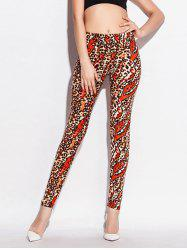 Skinny High Waist Leopard Leggings - ORANGE