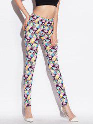 Skinny High Waist Geometric Print Leggings - COLORMIX