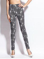 Chevron Print Skinny High Waist Leggings - BLACK