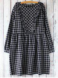 Gingham Check Long Sleeve Dress -