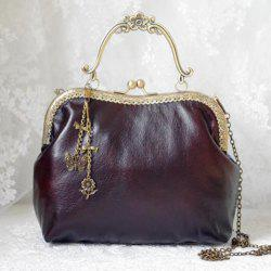 Chain Vintage Kiss Lock Tote Bag - DEEP BROWN