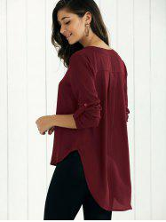 V Neck High-Low Blouse