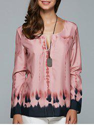 V Neck Long Sleeve Tie Dye Blouse - PINK