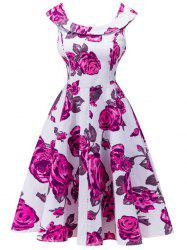 Retro Rose Floral Capelet Dress - WHITE
