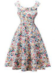 Floral Dress Retro Volants Cap Sleeve - Blanc Cassé