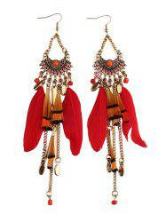 Rhinestone Feather Fan-Shaped Boho Jewelry Earrings