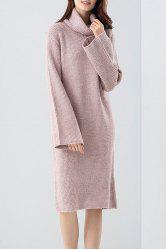 Turtleneck Knee Length Sweater Dress