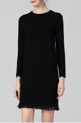 Fringe Fitted Sweater Dress