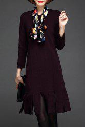 Fringe Knit Long Sleeve Dress