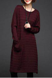 A Line Knee Length Sweater Dress - WINE RED