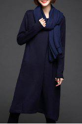 Long Sleeve A Line Knit Dress - CADETBLUE