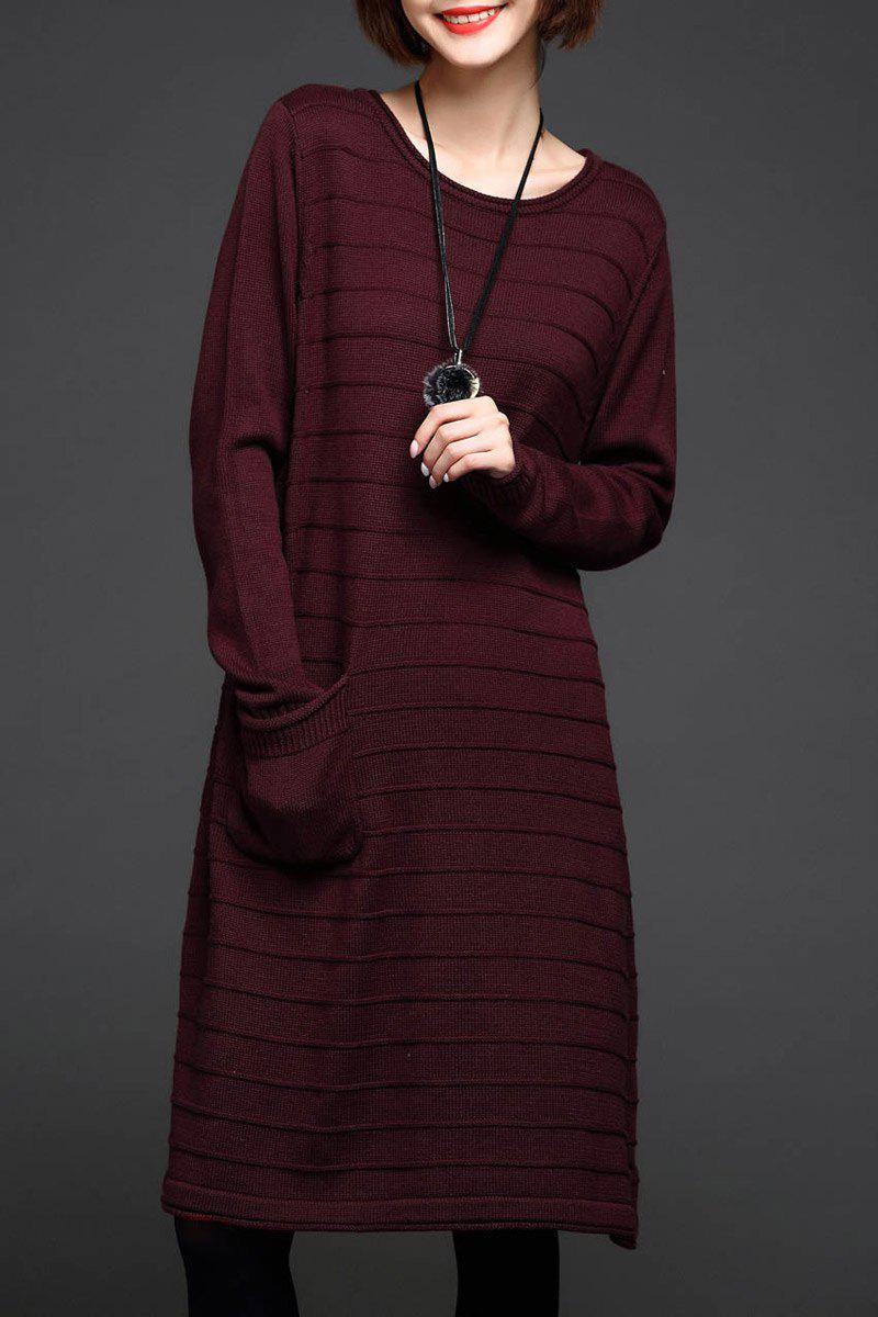 Affordable A Line Knee Length Sweater Dress