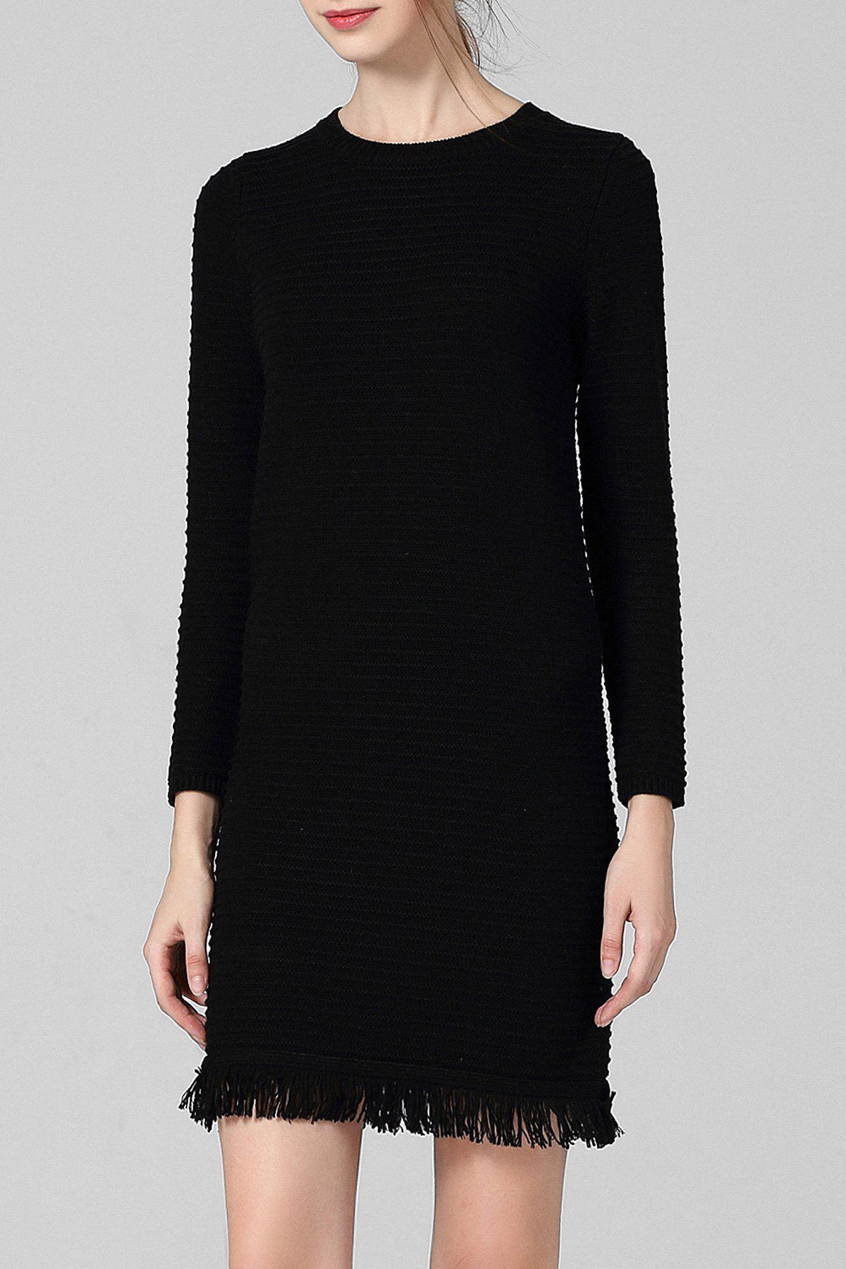 Unique Long Sleeve Fringe Fitted Sweater Dress