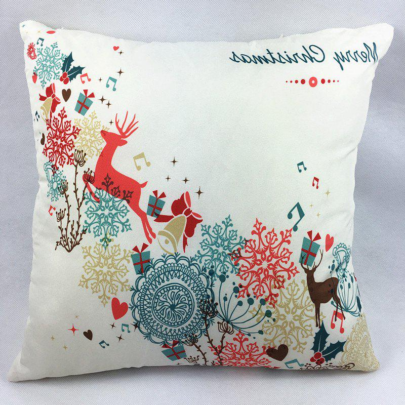 Christmas Deer Gift Double-Faced PillowcaseHOME<br><br>Color: OFF-WHITE; Material: Polyester / Cotton; Pattern: Printed; Style: Modern/Contemporary; Shape: Square; Size(CM): 45*45CM; Weight: 0.100kg; Package Contents: 1 x Pillowcase;
