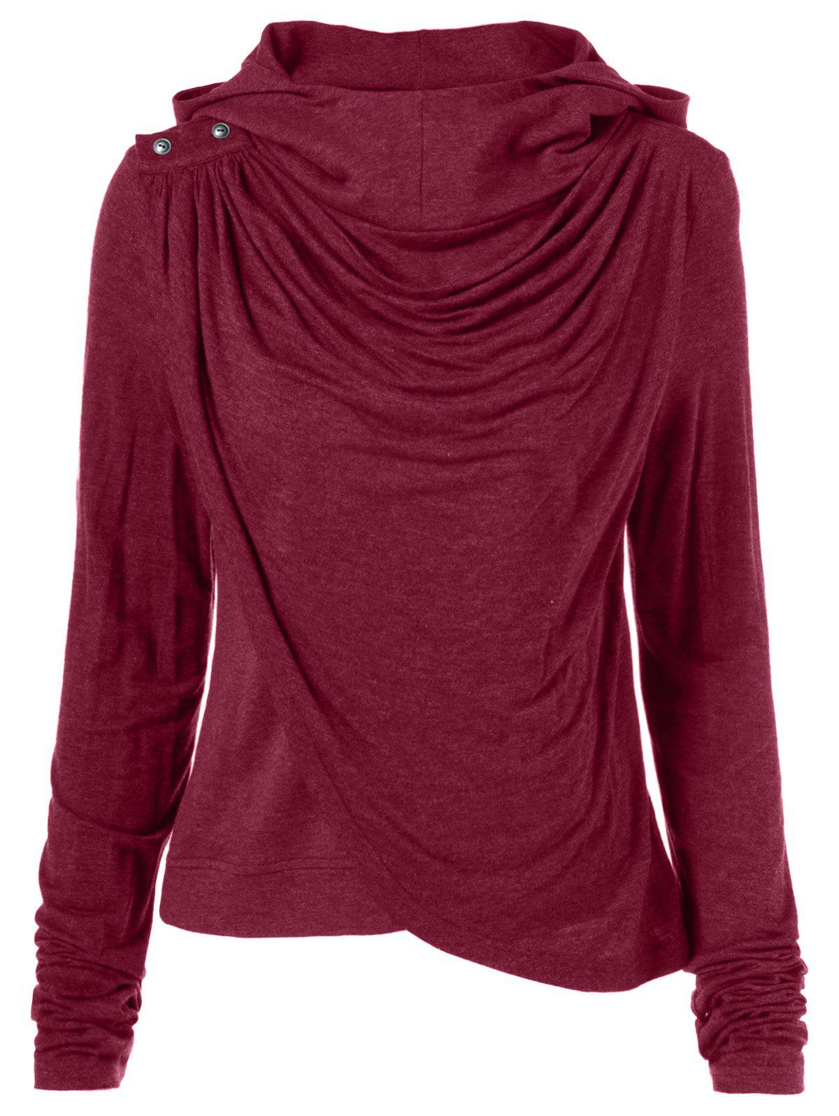 Affordable Ruched Asymmetrical Hoodie