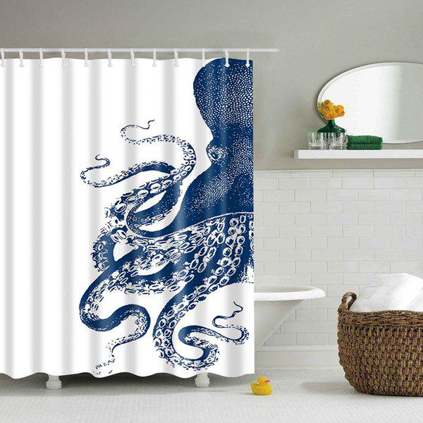 Waterproof Mouldproof Octopus Printed Shower CurtainHOME<br><br>Size: L; Color: BLUE AND WHITE; Type: Shower Curtains; Material: Polyester; Weight: 0.540kg; Package Contents: 1 x Shower Curtain;