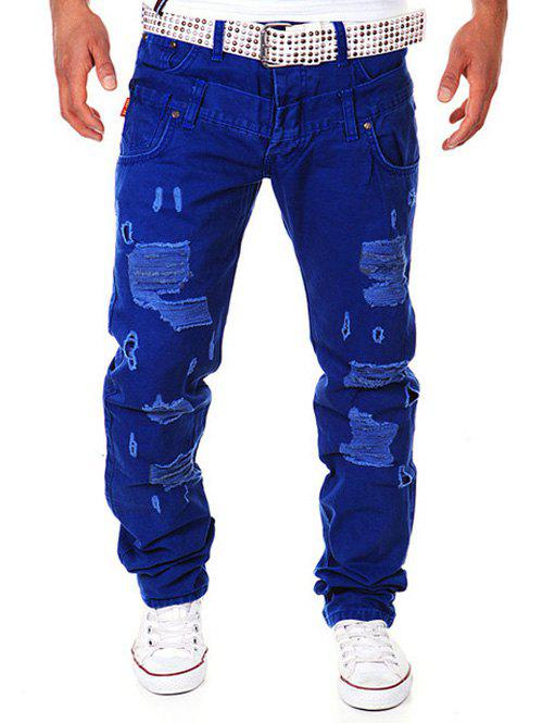 Affordable Straight Leg Double-Waist Destroyed Cargo Pants