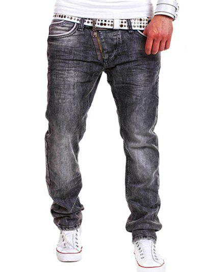 Affordable Special Zipper Design Straight Leg Loose Jeans