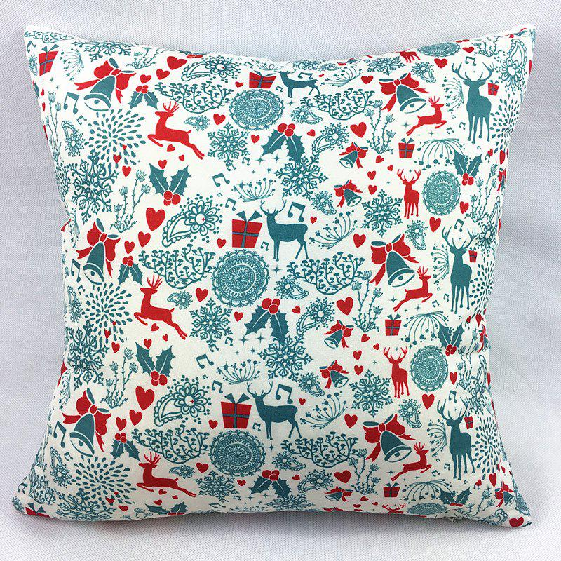 Christmas Deers Bells Gift Heart Double-Faced PillowcaseHOME<br><br>Color: WHITE; Material: Polyester / Cotton; Pattern: Printed; Style: Modern/Contemporary; Shape: Square; Size(CM): 45*45CM; Weight: 0.100kg; Package Contents: 1 x Pillowcase;