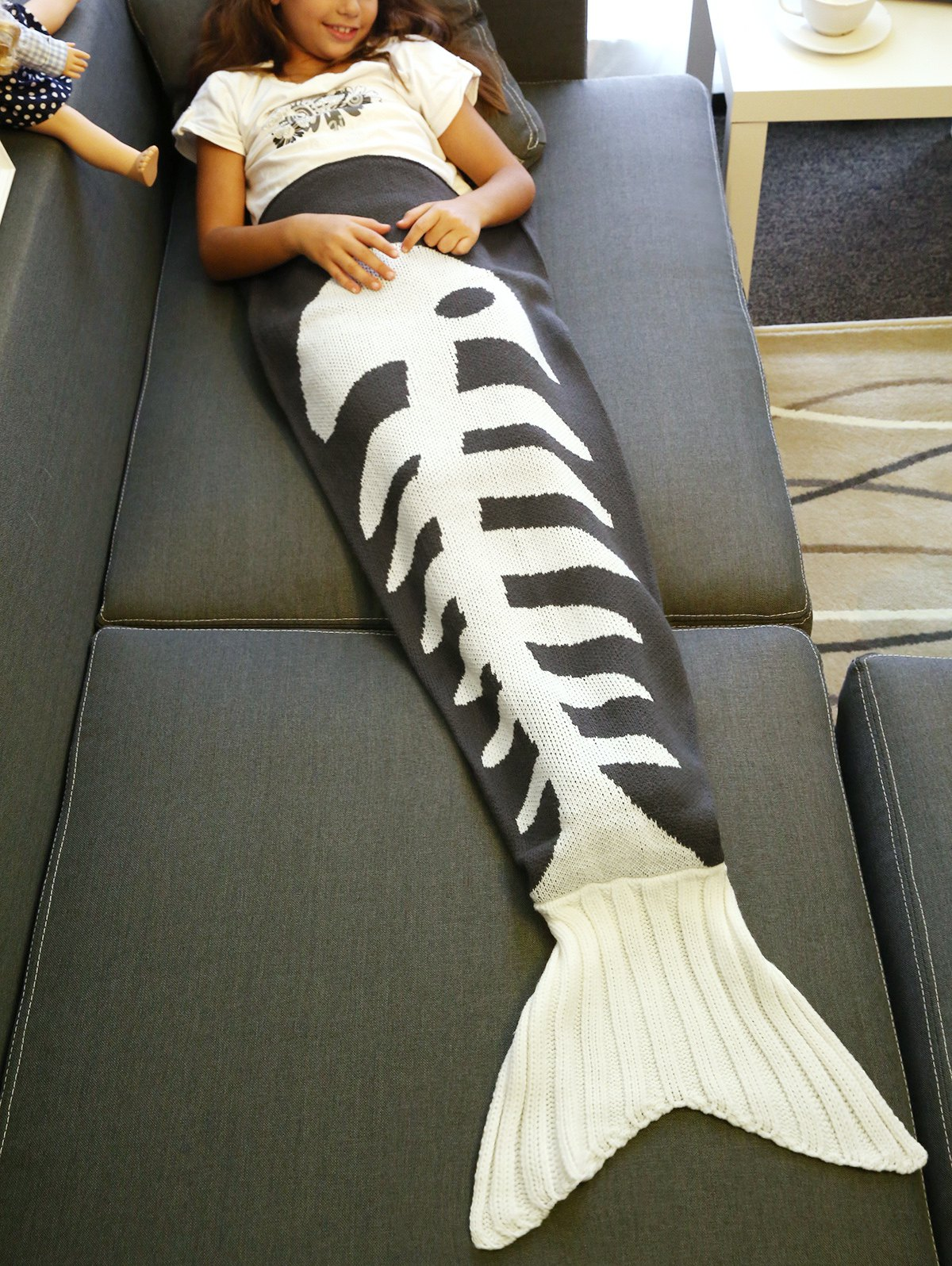 Shop Super Soft Fish Bone Design Knitted Mermaid Tail Blanket