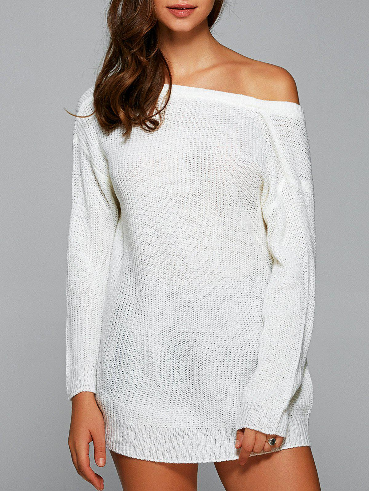 Drop Shoulder Backless Long SweaterWOMEN<br><br>Size: S; Color: WHITE; Type: Pullovers; Material: Cotton,Polyester; Sleeve Length: Full; Collar: Skew Collar; Style: Fashion; Pattern Type: Solid; Season: Fall,Spring,Winter; Elasticity: Elastic; Weight: 0.250kg; Package Contents: 1 x Sweater;