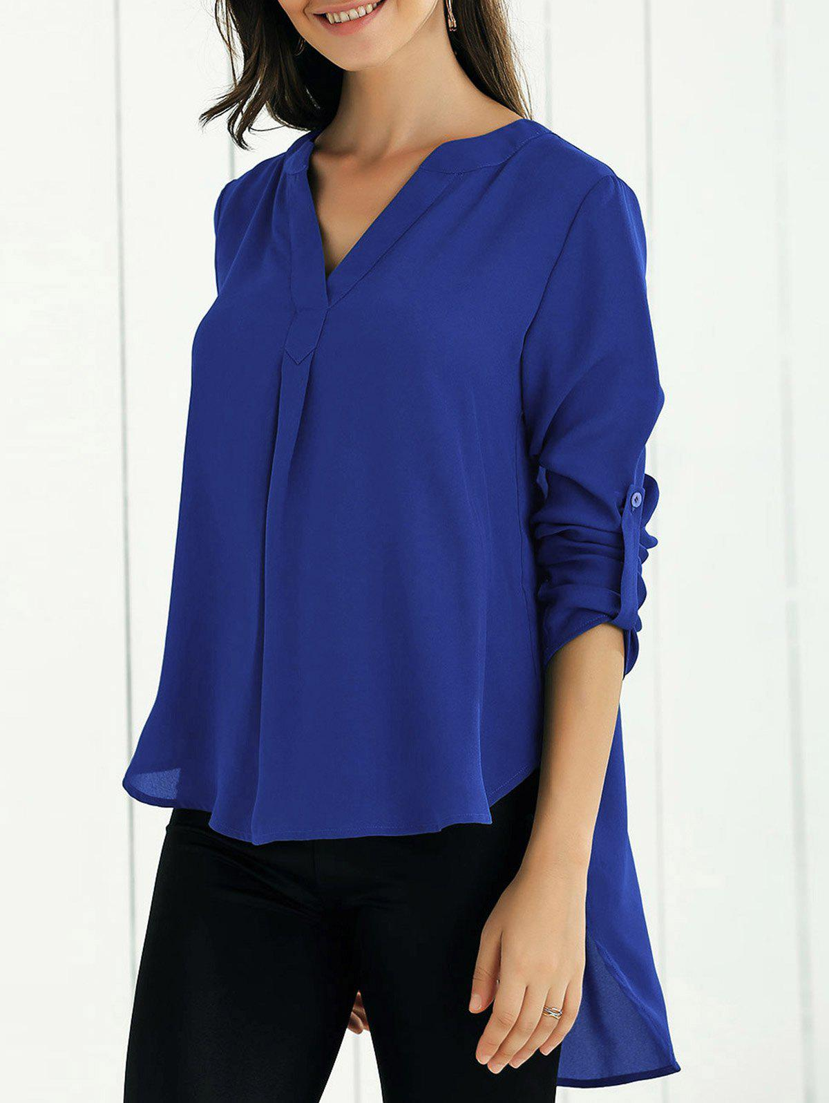 V Neck High-Low BlouseWOMEN<br><br>Size: XL; Color: SAPPHIRE BLUE; Style: Fashion; Material: Polyester; Shirt Length: Long; Sleeve Length: Full; Collar: V-Neck; Pattern Type: Solid; Season: Fall,Spring,Summer; Weight: 0.3200kg; Package Contents: 1 x Blouse;