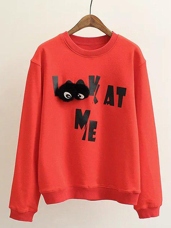 Affordable Plus Size Letter Print Sweatshirt