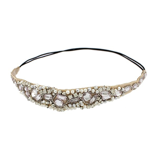 Shop Elegant Rhinestoned Beading Lace Headband For Women