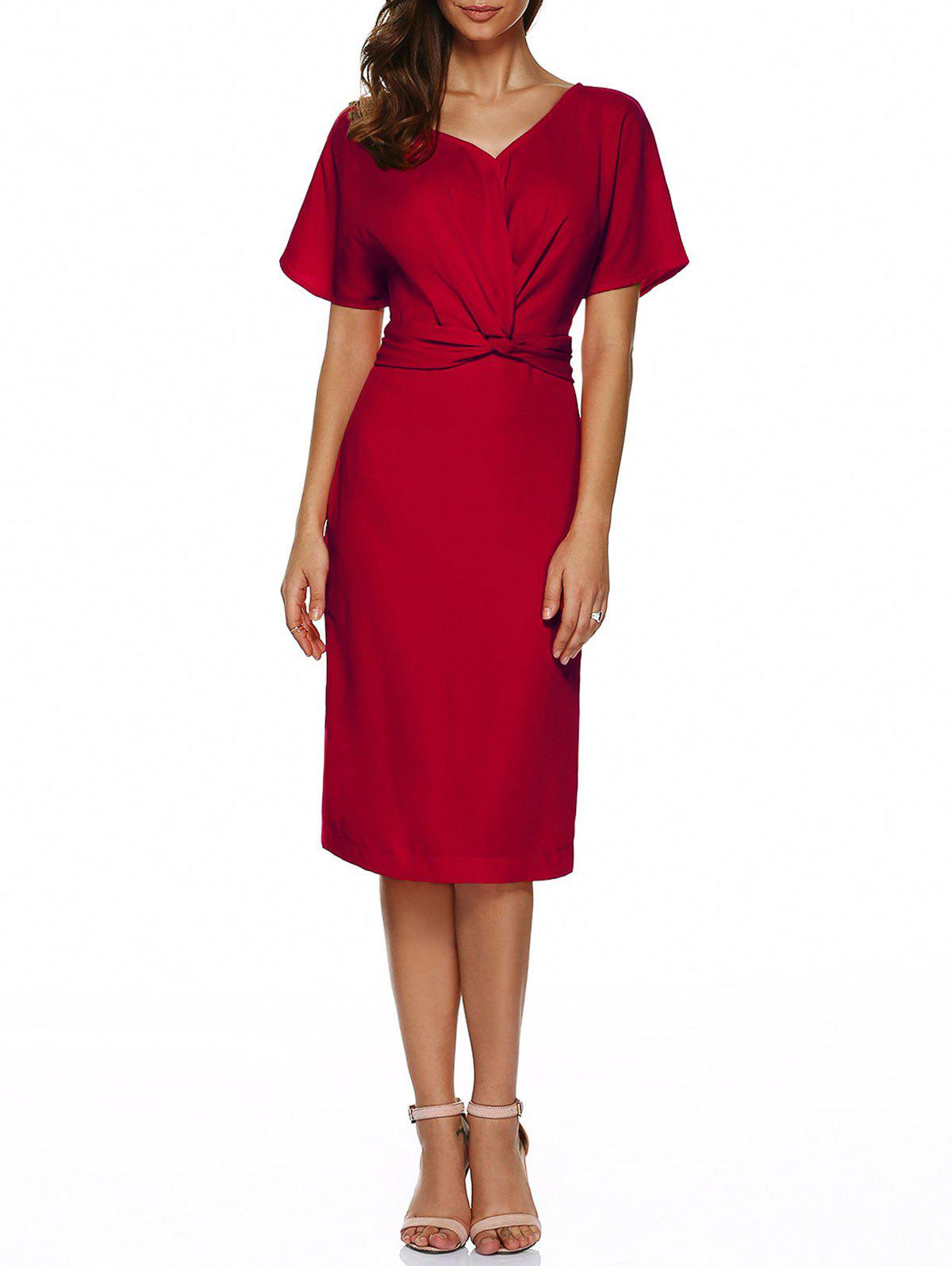 Buy V Neck Knot Knee Length Dress With Short Sleeves