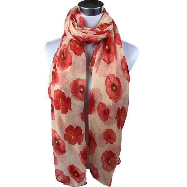 Poppy Flower Print Voile ScarfACCESSORIES<br><br>Color: ORANGEPINK; Scarf Type: Scarf; Group: Adult; Gender: For Women; Style: Fashion; Material: Polyester; Season: Fall,Spring,Summer; Scarf Length: 180CM; Scarf Width (CM): 85CM; Weight: 0.200kg; Package Contents: 1 x Scarf;