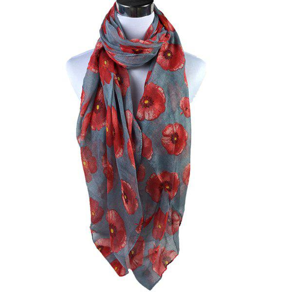 Poppy Flower Print Voile ScarfACCESSORIES<br><br>Color: GRAY; Scarf Type: Scarf; Group: Adult; Gender: For Women; Style: Fashion; Material: Polyester; Season: Fall,Spring,Summer; Scarf Length: 180CM; Scarf Width (CM): 85CM; Weight: 0.200kg; Package Contents: 1 x Scarf;