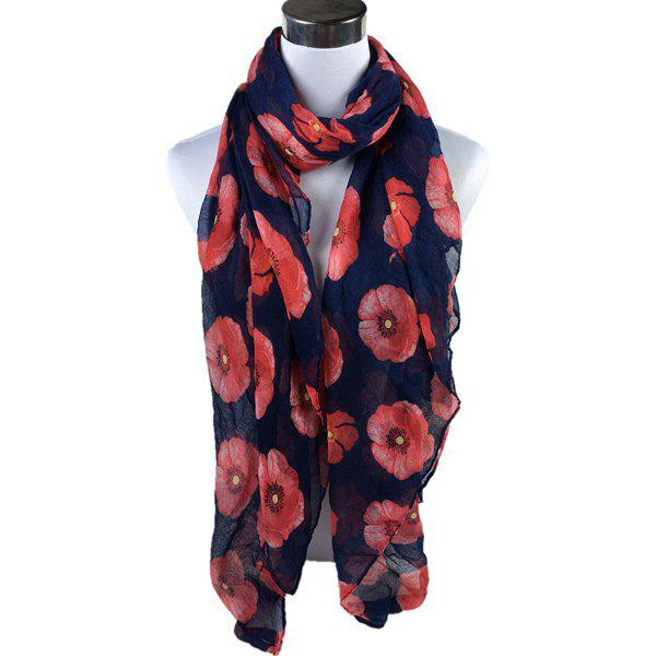 Poppy Flower Print Voile ScarfACCESSORIES<br><br>Color: DEEP BLUE; Scarf Type: Scarf; Group: Adult; Gender: For Women; Style: Fashion; Material: Polyester; Season: Fall,Spring,Summer; Scarf Length: 180CM; Scarf Width (CM): 85CM; Weight: 0.200kg; Package Contents: 1 x Scarf;