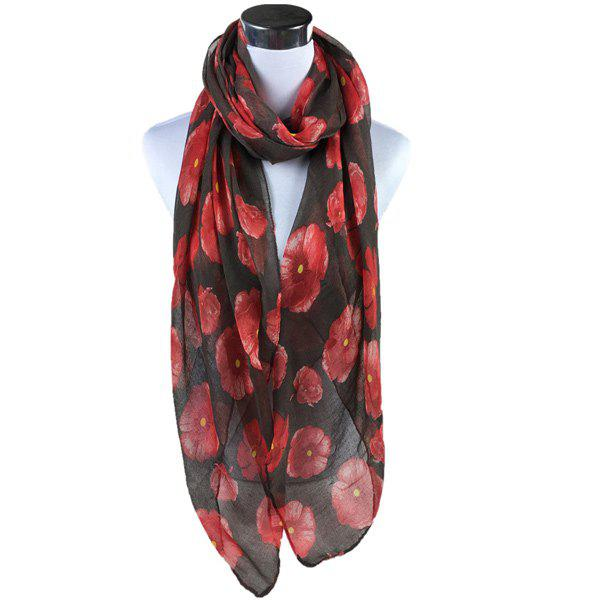 Poppy Flower Print Voile ScarfACCESSORIES<br><br>Color: BLACK; Scarf Type: Scarf; Group: Adult; Gender: For Women; Style: Fashion; Material: Polyester; Season: Fall,Spring,Summer; Scarf Length: 180CM; Scarf Width (CM): 85CM; Weight: 0.200kg; Package Contents: 1 x Scarf;