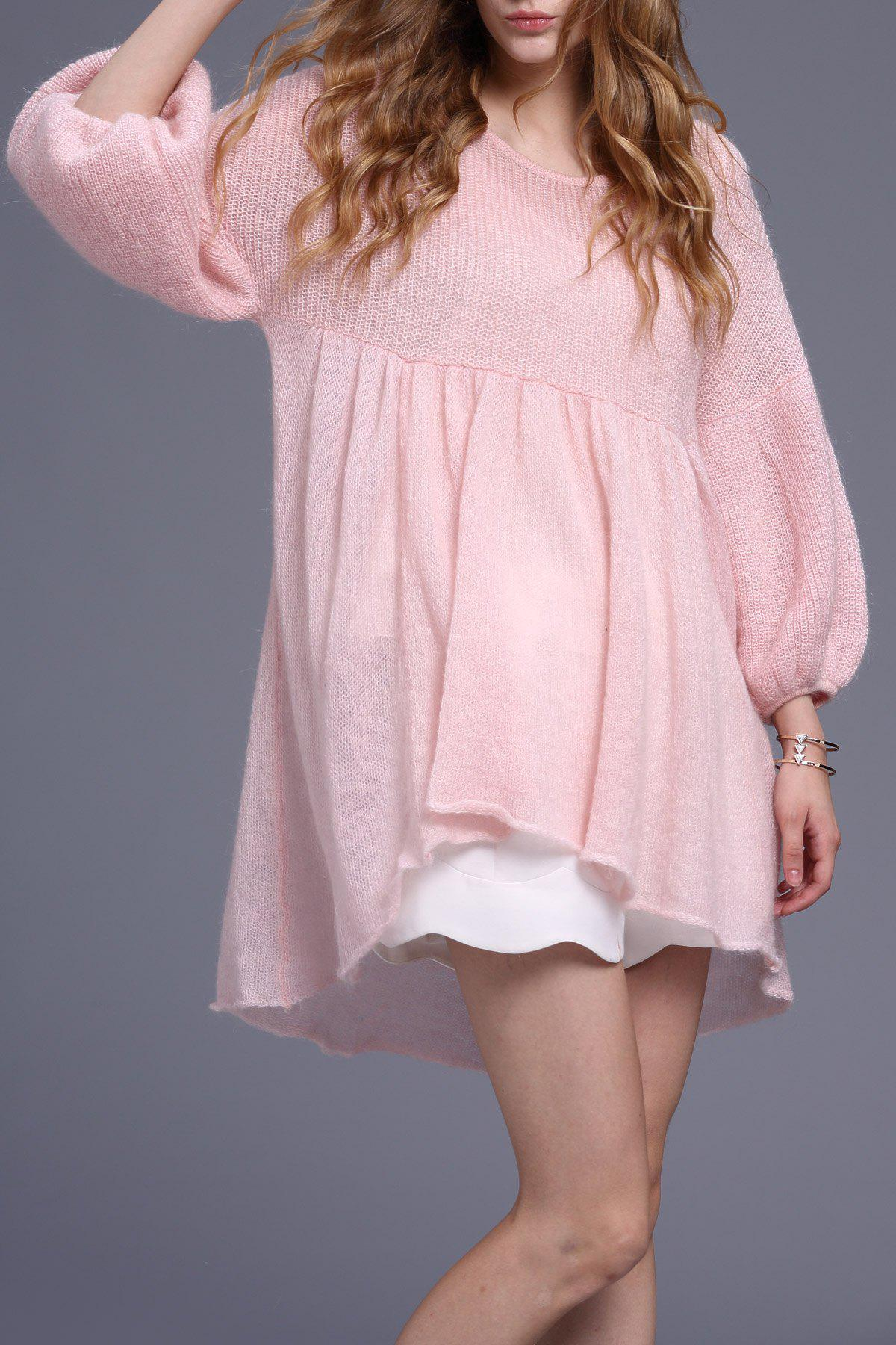 New Waisted High Low Sweater Dress