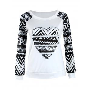 Tribal Print Raglan Sleeve T-Shirt - White And Black - Xl
