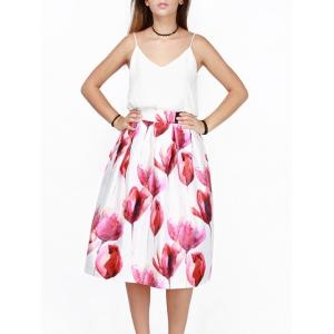 Tulip Printed High Waist Puff Skirt