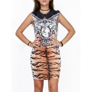 Tiger Striped Printed Skinny Bodycon African Style Dress - Colormix - S