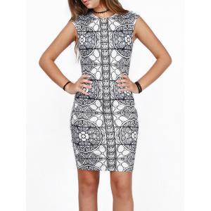 Slimming Bodycon Party Floral Bandage Dress - White And Black - L