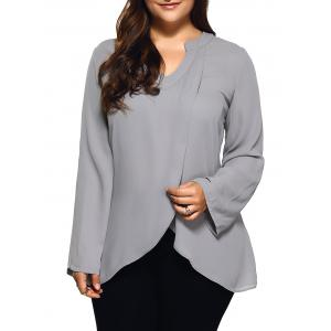 Plus Size Front Slit Loose Blouse - Light Gray - 4xl