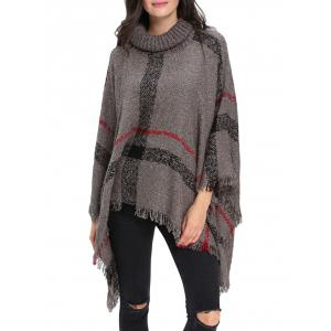Turtleneck Fringe Long Cardigan Poncho - Gray - One Size