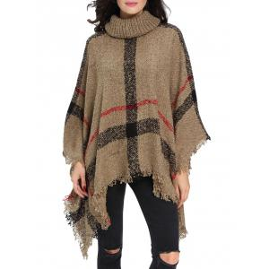 Turtleneck Fringe Long Cardigan Poncho