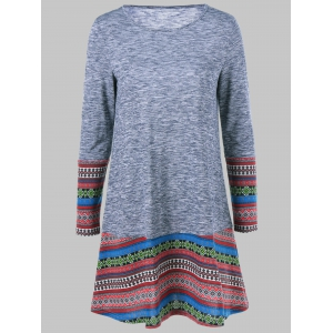 Tribal Pattern Long Sleeve Dress