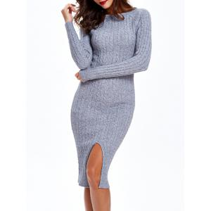Long Sleeve Cable Knit Bodycon Dress