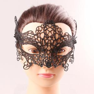 One PCS Black Lace Hollow Out Upper Half Face Carnival Masquerade Masks - Black