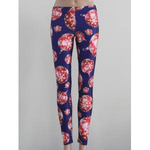 Stretch Snowflake Print Leggings - Blue - Xl