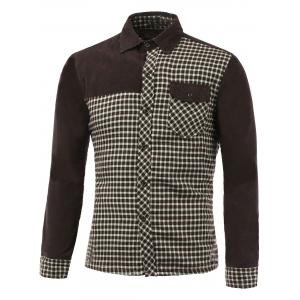 Long Sleeve Plush Lining Spliced Gingham Shirt